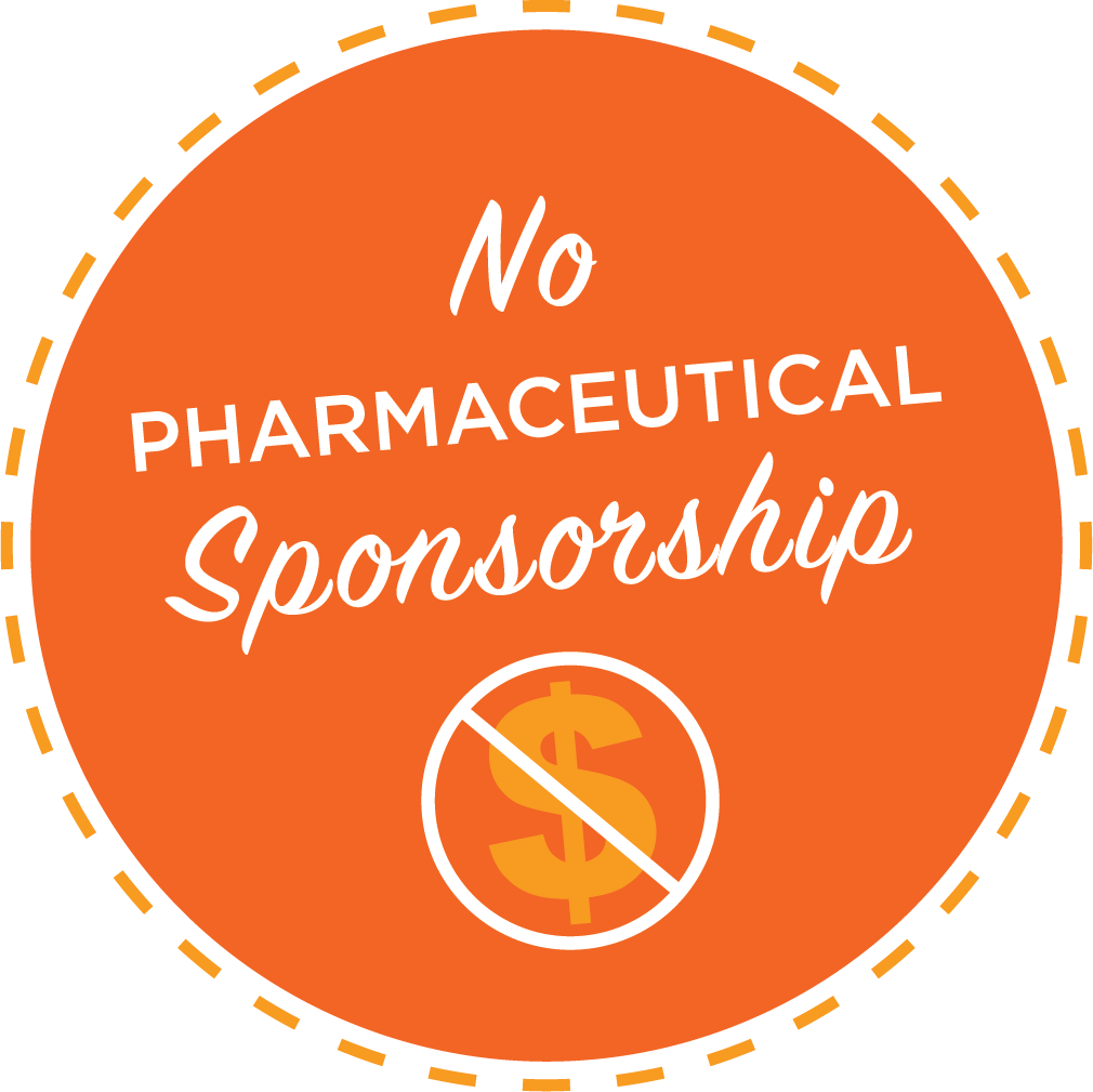 No pharmaceutical sponsorship logo
